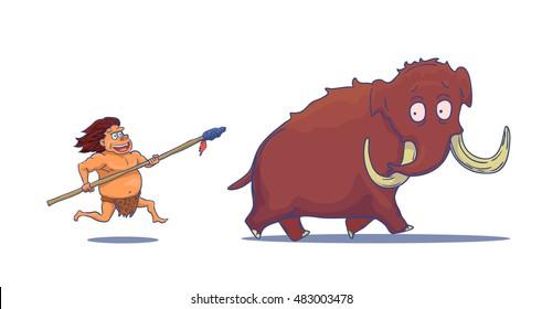 Cartoon Caveman mit Spear Jagd Mammoth. Vektorgrafik