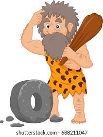 Cartoon caveman with stone wheel