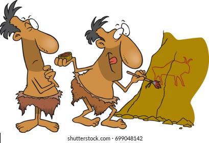 cartoon cavemen painting on a rock wall