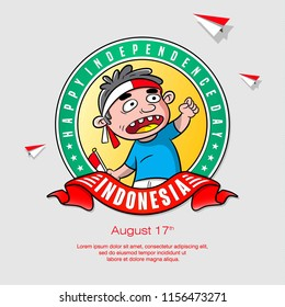 cartoon celebration indonesia independence day, poster design vector, greeting card