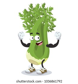cartoon celery mascot shows its strength on a white background