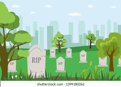 Cartoon cemetery,tombstones with the inscription RIP,city buildings on background,memorial park,flat vector illustration