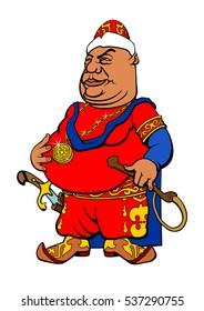 Cartoon Central Asian Sultan. Vector illustration