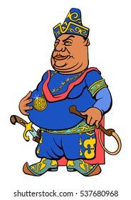 Cartoon Central Asian Sultan. Vector illustration.
