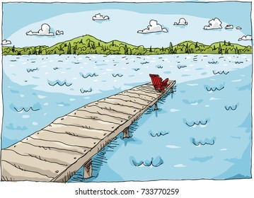 Cartoon of a chair sitting at the end of a long dock on a lake on a bright, fresh summer day.