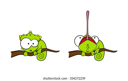 Cartoon chameleon cute illustration set smiling with tongue