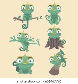 Cartoon chameleon cute illustration set.