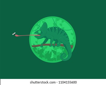 Cartoon Chameleon Green Jungle Forest Colorful Flat Retro Vector Illustration. Chameleon on the branch. Vector flat illustration.