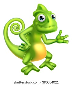 A cartoon chameleon lizard character mascot