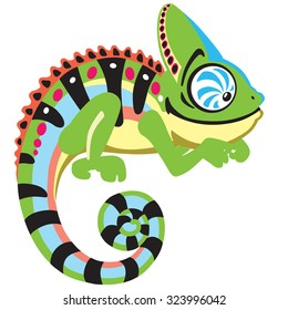 cartoon chameleon  lizard ,  side view image isolated on white