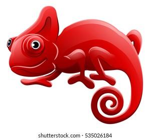 A cartoon chameleon red lizard character