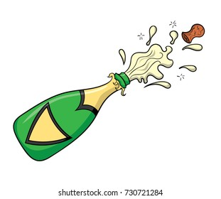 Cartoon champagne bottle popping