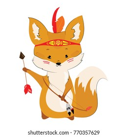 Cartoon chanterelle with an Indian headdress made of feathers on the head. Lovely stylized fox. Vector illustration for children. Wild animal.