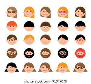 Cartoon Character...Set of 25 Faces...