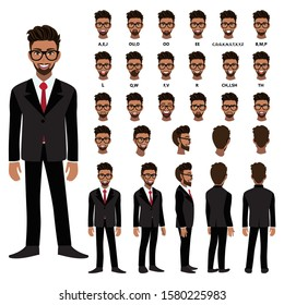 Cartoon character with African American business man in suit for animation. Front, side, back, 3-4 view character. Separate parts of body. Flat vector illustration.
