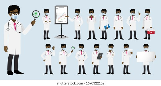 Cartoon character with an African American professional male doctor or medical worker wearing medical mask on face in different poses to fight corona-virus. Flat icon design
