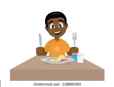 Cartoon character,  African Boy eat breakfast., vector eps10