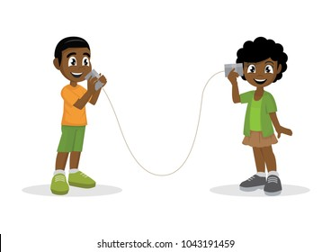 Cartoon character, African Boy and girl talking with can telephone.,vector eps10