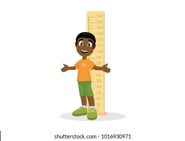 Cartoon character, African Boy measuring height., vector eps10