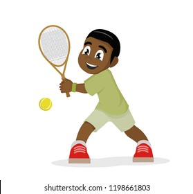 Cartoon character, African Boy playing tennis on a white background.,vector eps10