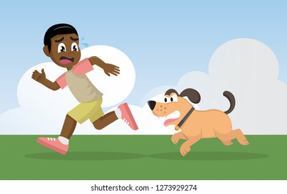 Cartoon character, African Boy running away from angry dog., vector eps10