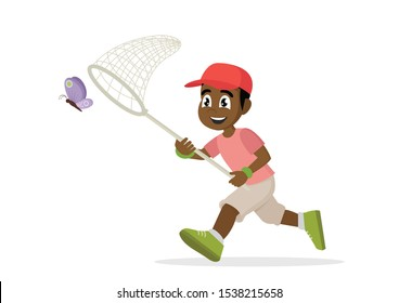 Cartoon character, African Boy is running with butterfly., vector eps10
