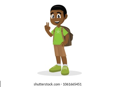 Cartoon character, African Boy with a school satchel show two fingers as v sign.,vector eps10