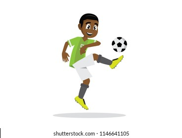 Cartoon character, African Boy soccer football player.,vector eps10