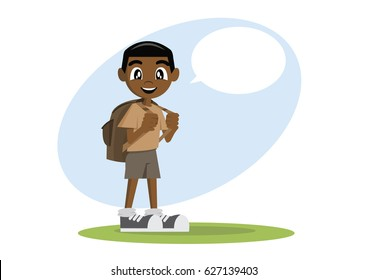 Cartoon character, African Boy is talking., vector eps10