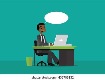 Cartoon character, African businessman Call center., vector eps10