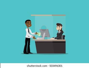 Cartoon character, African businessman deposit money in the bank., vector eps10