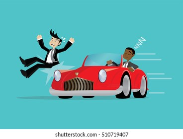 Cartoon character, African businessman Driver Dozing Off While Driving until the accident., vector eps10