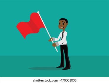 Cartoon character, African businessman holding a flag., vector eps10