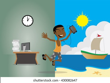 Cartoon character, African businessman on vacation to the beach., vector eps10