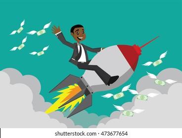Cartoon character, African businessman riding a rocket., vector eps10