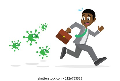 Cartoon character, African Businessman running away from viruses and contagious diseases., vector eps10