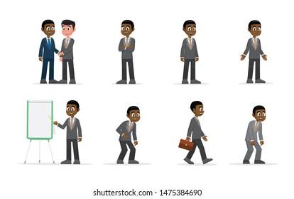 Cartoon character, African businessman set., vector eps10