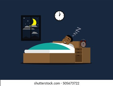 Cartoon character, African businessman sleeping on the bed., vector eps10