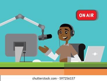 Cartoon character, African Dj on air at radio station., vector eps10