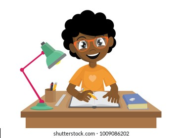 Cartoon character, African Girl makes a homework., vector eps10