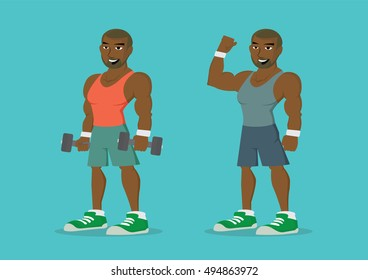 Cartoon character, African man holding dumbbell hand to Body look good., vector eps10