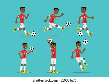 Cartoon character, African man playing soccer., vector eps10
