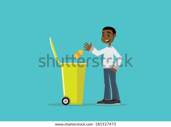 Cartoon character, African man throw garbage in trash bin., Vector eps10.