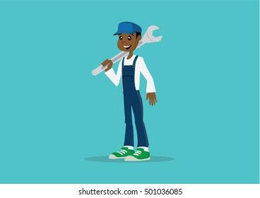 Cartoon character, African mechanic holding huge wrench., vector eps10