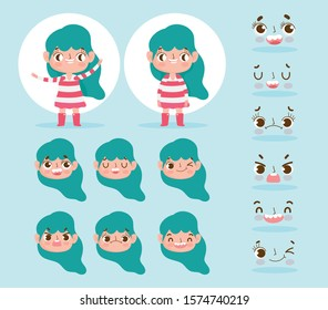 cartoon character animation little girl with green hair and different gesture faces vector illustration