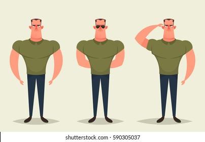 Cartoon Character - Army Man. Vector Set