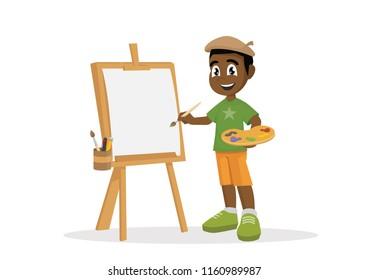 Cartoon character, Artist African boy painting on canvas., vector eps10