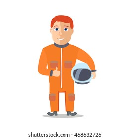 Cartoon Character Astronaut with Space Suit. Vector illustration