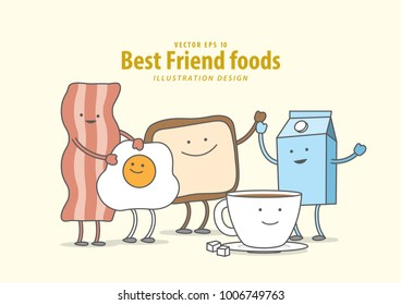 Cartoon character of Bacon, Fried egg, Toast, Coffee, Milk (Breakfast) illustration vector on pale yellow background. Best friend foods concept.