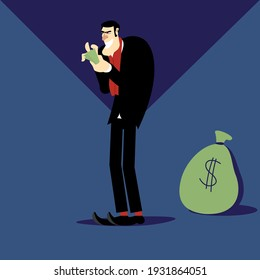 Cartoon character. Bank. Finance. Greedy. Miser. Stingy. Sinister. Economy. Bear of money. Businessman. Character. Rigging. Money. Banking character. Financier. Bitcoin. Cartoon. Vector illustration.